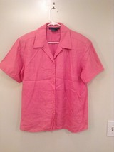 Very Nice Hot Pink Short Sleeve I B Diffusion Button Up Linen Shirt  Size 12