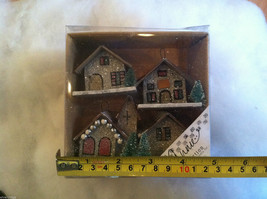 Set of 4 Little Ornament Winter Houses with glitter paint and snow image 7