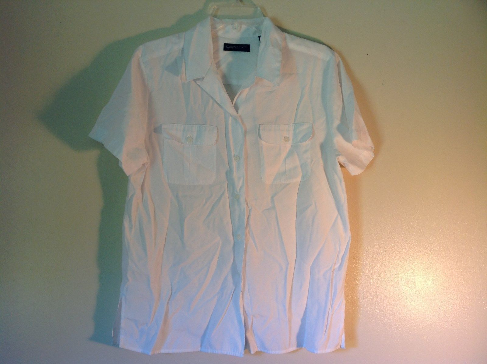 Very Nice White Button Up Karen Scott Size Medium Short Sleeve Dress Shirt