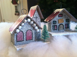 Set of 4 Little Ornament Winter Houses with glitter paint and snow image 3