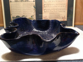 Very Pretty Dark Blue Multi Purpose Handmade Ceramic Large Serving Dish