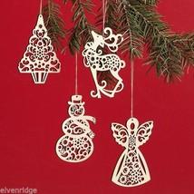 Set of four boxed set Wood Ornaments Flourish snowman tree angel reindeer image 2