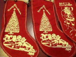 Set of 4 vintage look felt stocking w bells small Santa chimney reindeer tree image 3