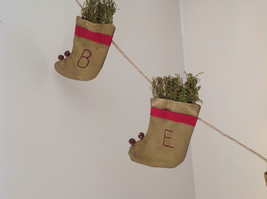 Seven Hanging Christmas Stocking Ornaments BELIEVE Garland image 6
