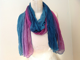 Very Pretty Pink Green Purple Scrunched Scarf Colors Flow Together - $34.64