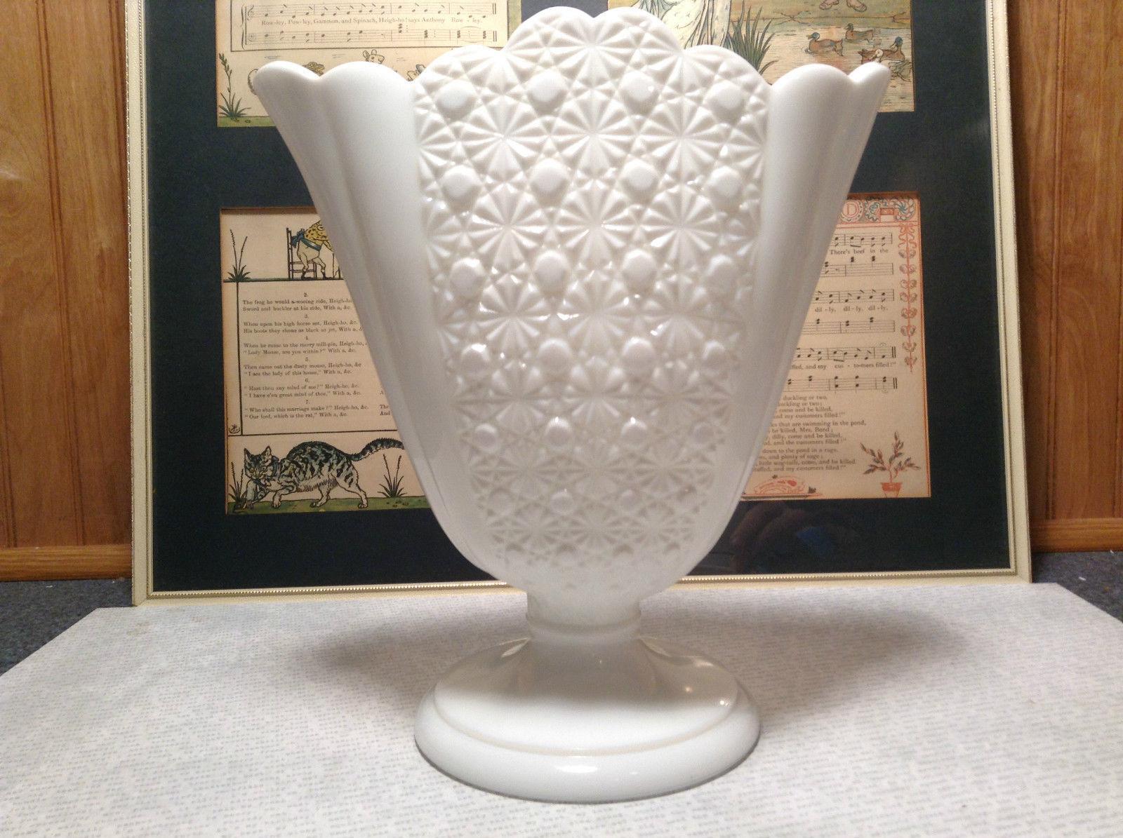 Very Pretty Vintage Large White Milk Glass Raised Vase Decoration Piece