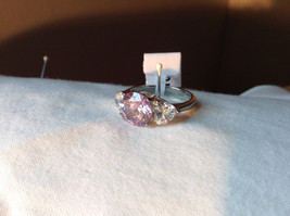 Very Pretty Pink White Circle CZ Stone Stainless Steel Ring Sizes 7 and 8