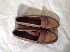Vibram Size 8 and a Half Brown Hand Sewn in USA Penny Loafers  Half Inch Heel