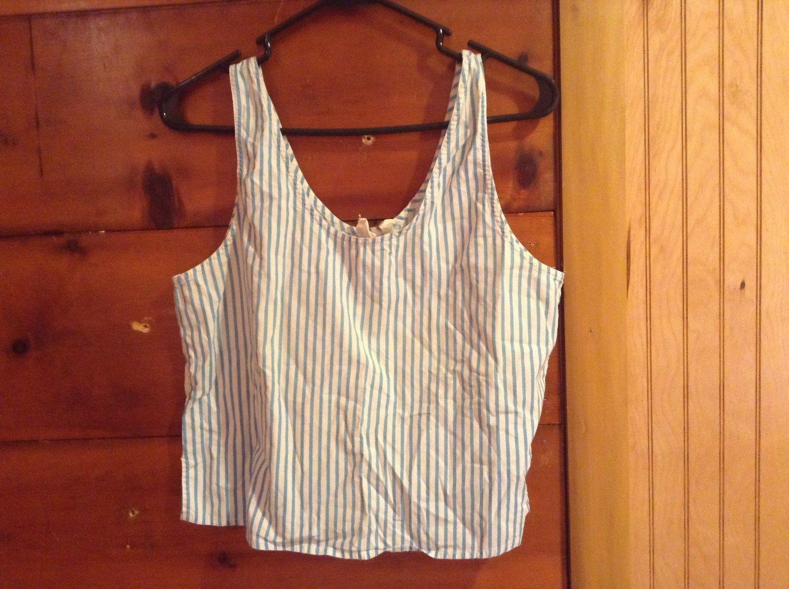 Victorias Secret Tank Top Sleepwear White and Blue Striped Size M Sleeveless
