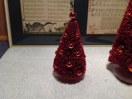 Set of Two Glittery Red Christmas Tree Figurines Department 56 scenery image 2
