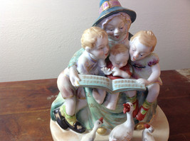 Shafford Ceramic Figurine Three Kids Three Geese Hand Painted in Japan image 2