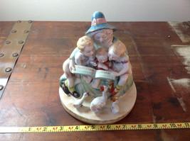 Shafford Ceramic Figurine Three Kids Three Geese Hand Painted in Japan image 5