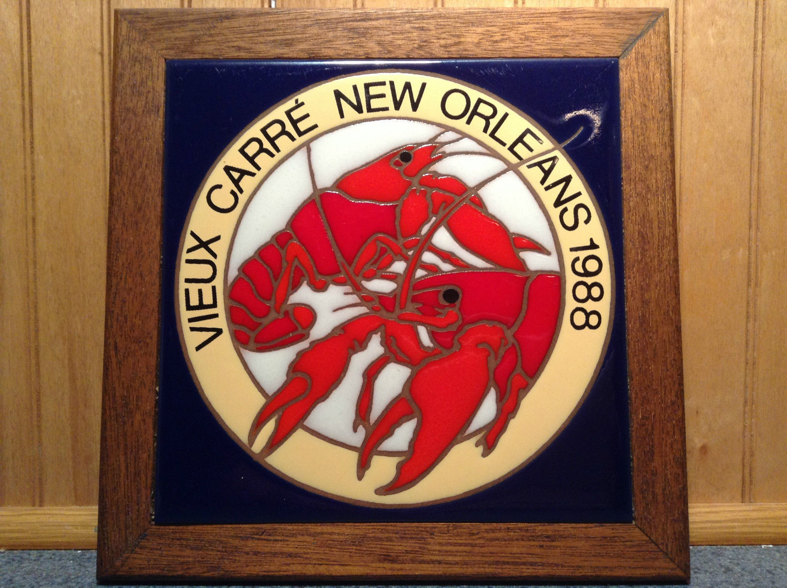 Vieux Carre New Orleans 1988 Vintage Tile Picture of Lobsters Made in Italy