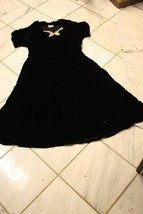 Vintage 1940s style velour black dress with beaded accents Harwyn New York