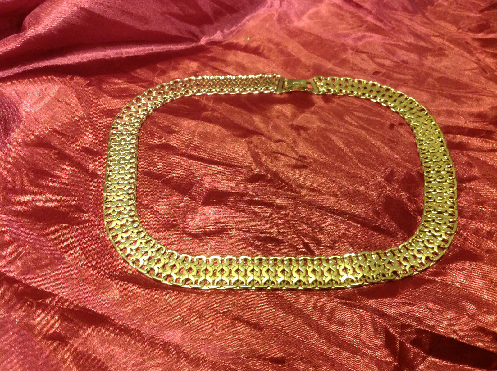 """Vintage 7"""" silver color necklace costume from estate"""