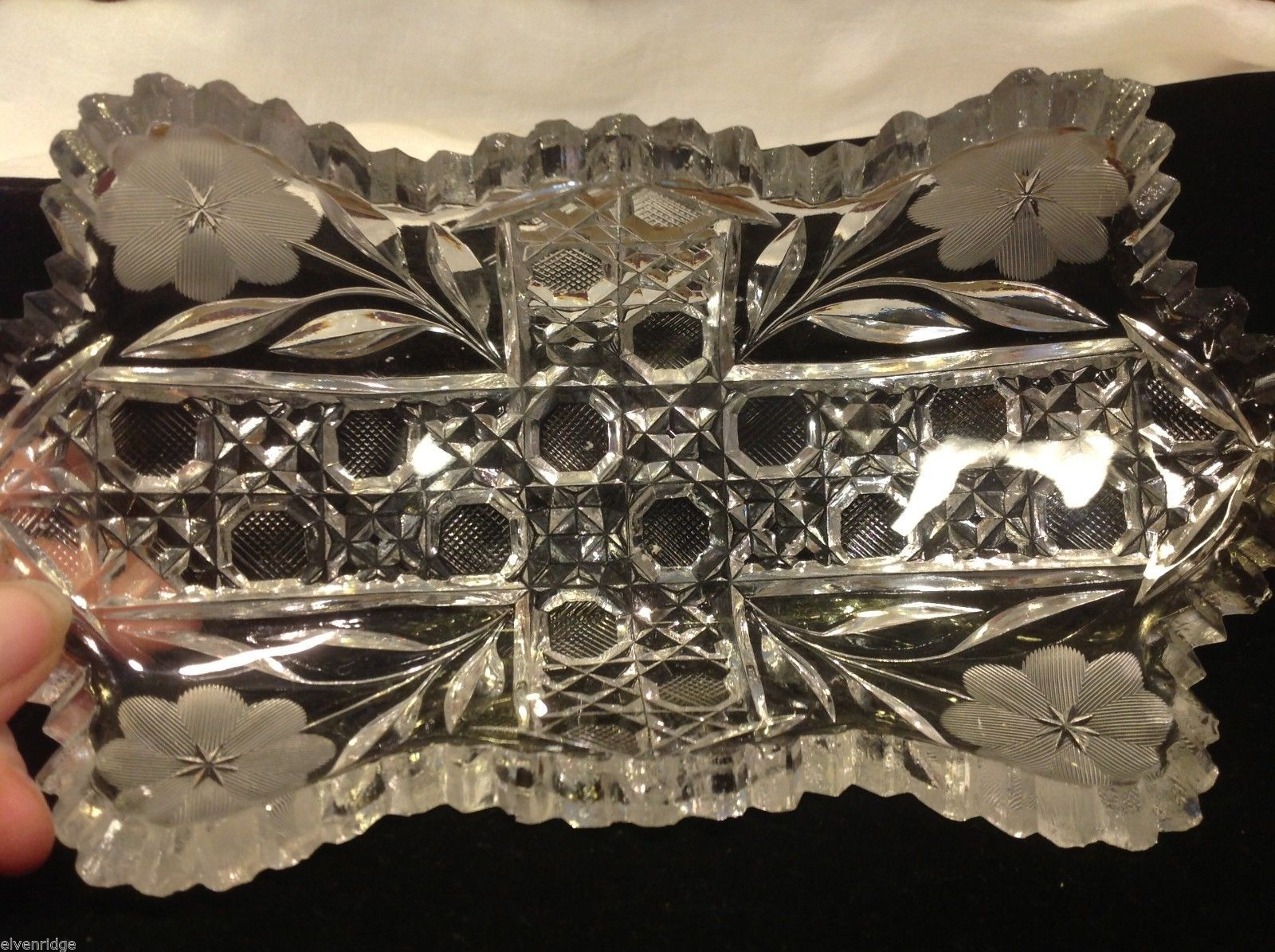 Vintage American Brilliant cut glass candy side dish from estate
