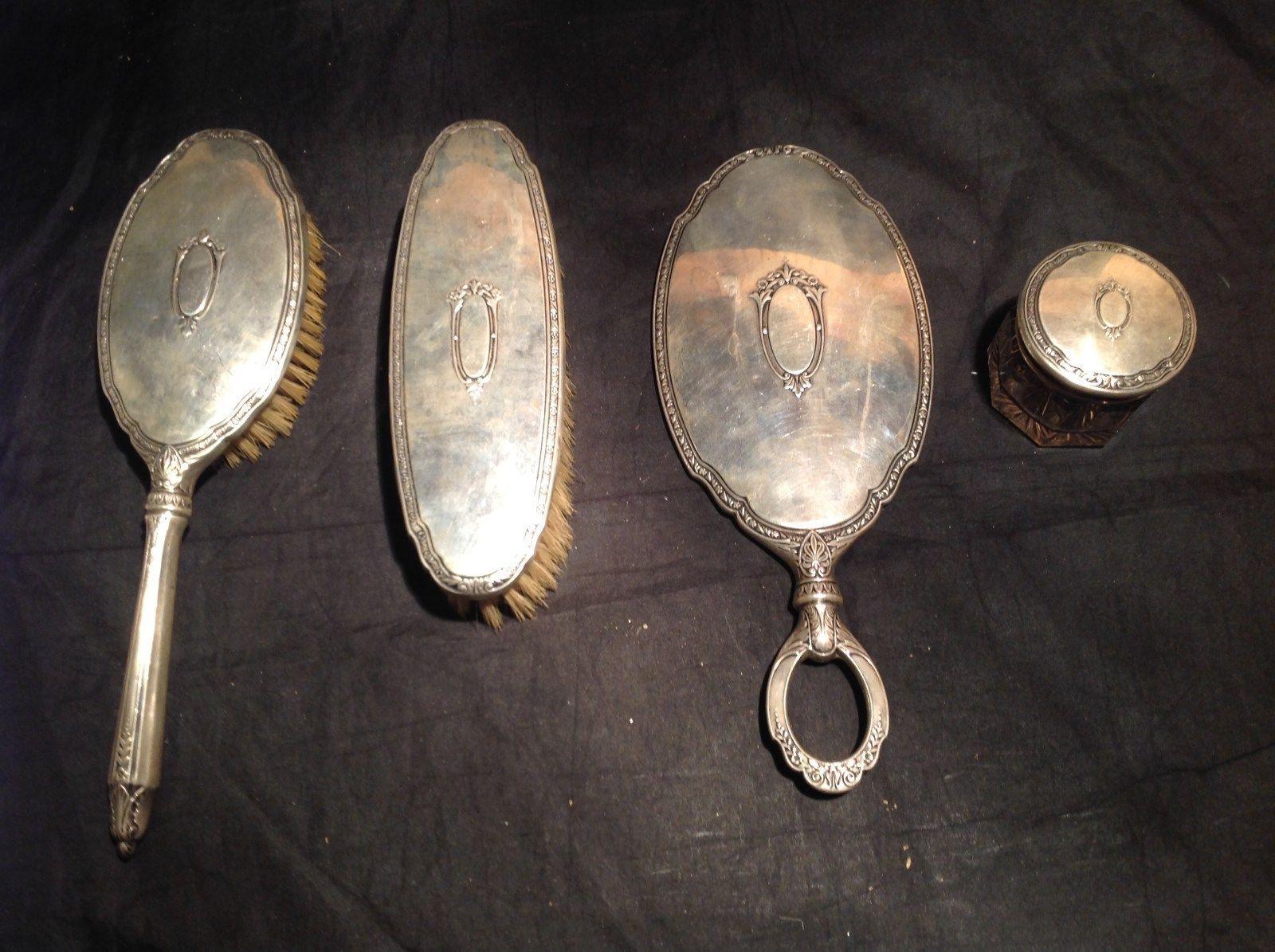 Vintage 4 Pieces Hairbrush Mirror Glass Jar Body Brush Bathroom Set Silverplate