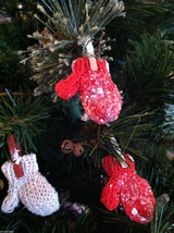 Set of 6 Glittery Red and White Mitten ornaments hanging from Clothespin image 4