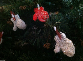 Set of 6 Glittery Red and White Mitten ornaments hanging from Clothespin image 2