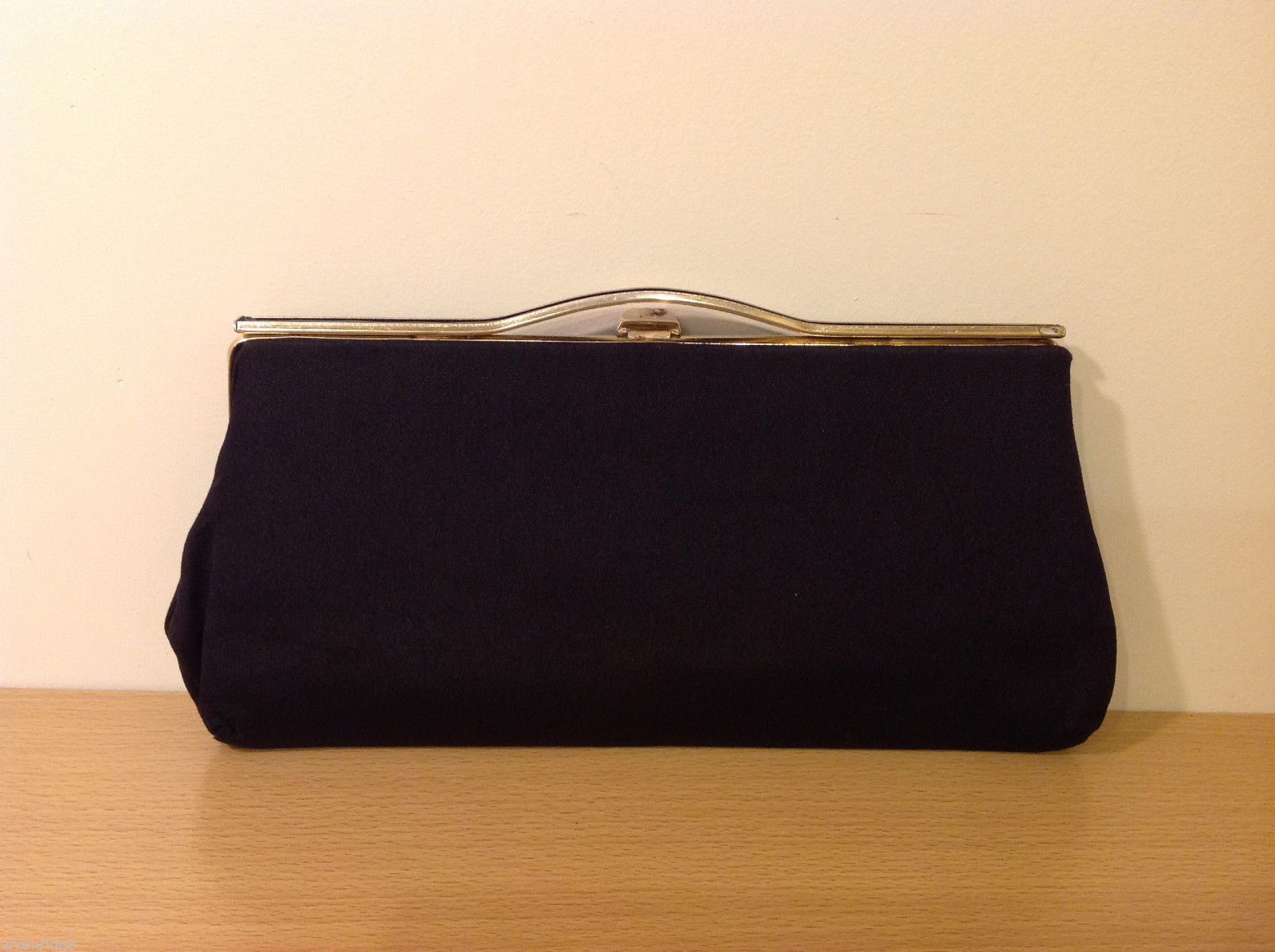 Vintage Black Fabric with Metal Enamel Handle Clutch Bag with small Mirror