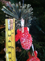 Set of 6 Glittery Red and White Mitten ornaments hanging from Clothespin image 5