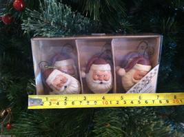 Set of 6 Santa Head Christmas Ornaments with flat back image 6