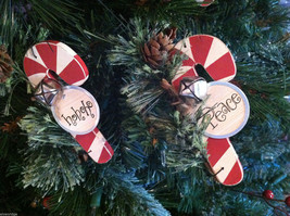 Set of 6 Wooden Candy Cane Tree Ornaments with Pine and Bell Decoration image 4