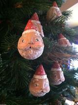 Set of 6 Round Santa Claus Heads - Red/White Polka Dot Cap Christmas ornaments image 4