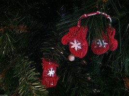 Set of 6 Glittery Pairs of Hat and Mitten Tree Ornaments image 2