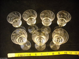 Set of 7 liquor stemware glass with copper wheel design of leaves and  berries image 2