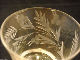 Set of 7 liquor stemware glass with copper wheel design of leaves and  berries image 4