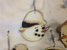 Set of 6 vintage image wood Snowman head ornaments with glitter and snowflakes image 9