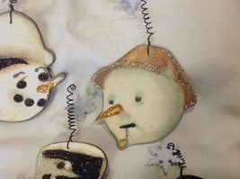 Set of 6 vintage image wood Snowman head ornaments with glitter and snowflakes image 8