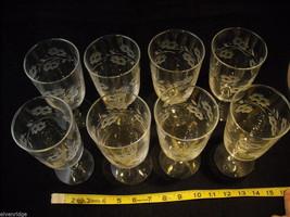 Set of 8 Large Stem Water Glasses copper wheel engraved vintage image 2