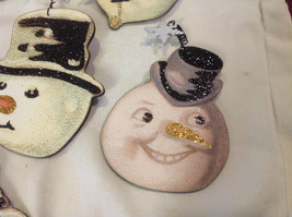 Set of 6 vintage image wood Snowman head ornaments with glitter and snowflakes image 7