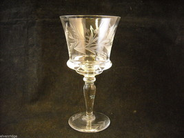 Set of 9 wine glass stemware with copper wheel design of leaves and  berries image 2