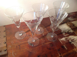 Set of Five Tall Champagne Glass Stemware Cooper Wheel Engraving High Quality image 2