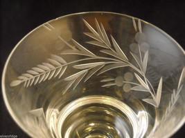 Set of 9 small wine or large liquor glasses copper wheel design leaves berries image 4