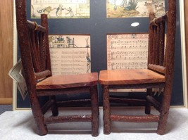 Set of Two Miniature Log Chairs Tags Attached image 8