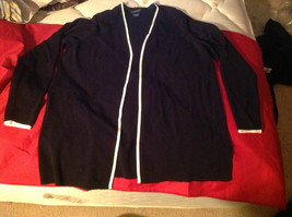 Avenue Long Sleeve Cardigan Black Trimmed in White Size 14/16 image 2