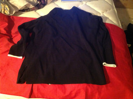 Avenue Long Sleeve Cardigan Black Trimmed in White Size 14/16 image 10