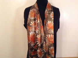 Shiny Floral Pattern Olive Green and  Light Brown Polyester Scarf Made in Korea image 2