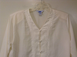 Ship N Shore White V Neck Button Up Top Side Slits Embroidery on Front Size 20W image 3