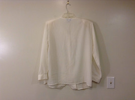 Ship N Shore White V Neck Button Up Top Side Slits Embroidery on Front Size 20W image 2