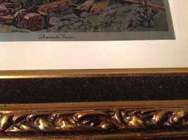 Shore Side Farm Print Painting Gold Tone Frame Relief Wall Decoration image 5
