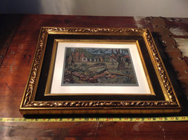 Shore Side Farm Print Painting Gold Tone Frame Relief Wall Decoration image 8