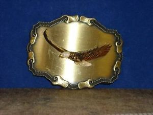 Vintage Brass Eagle Belt Buckle 1977 by Raintree