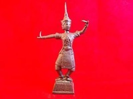 Vintage Cast Metal Thai Dancer in Costume Figurine 6-7-2014-X