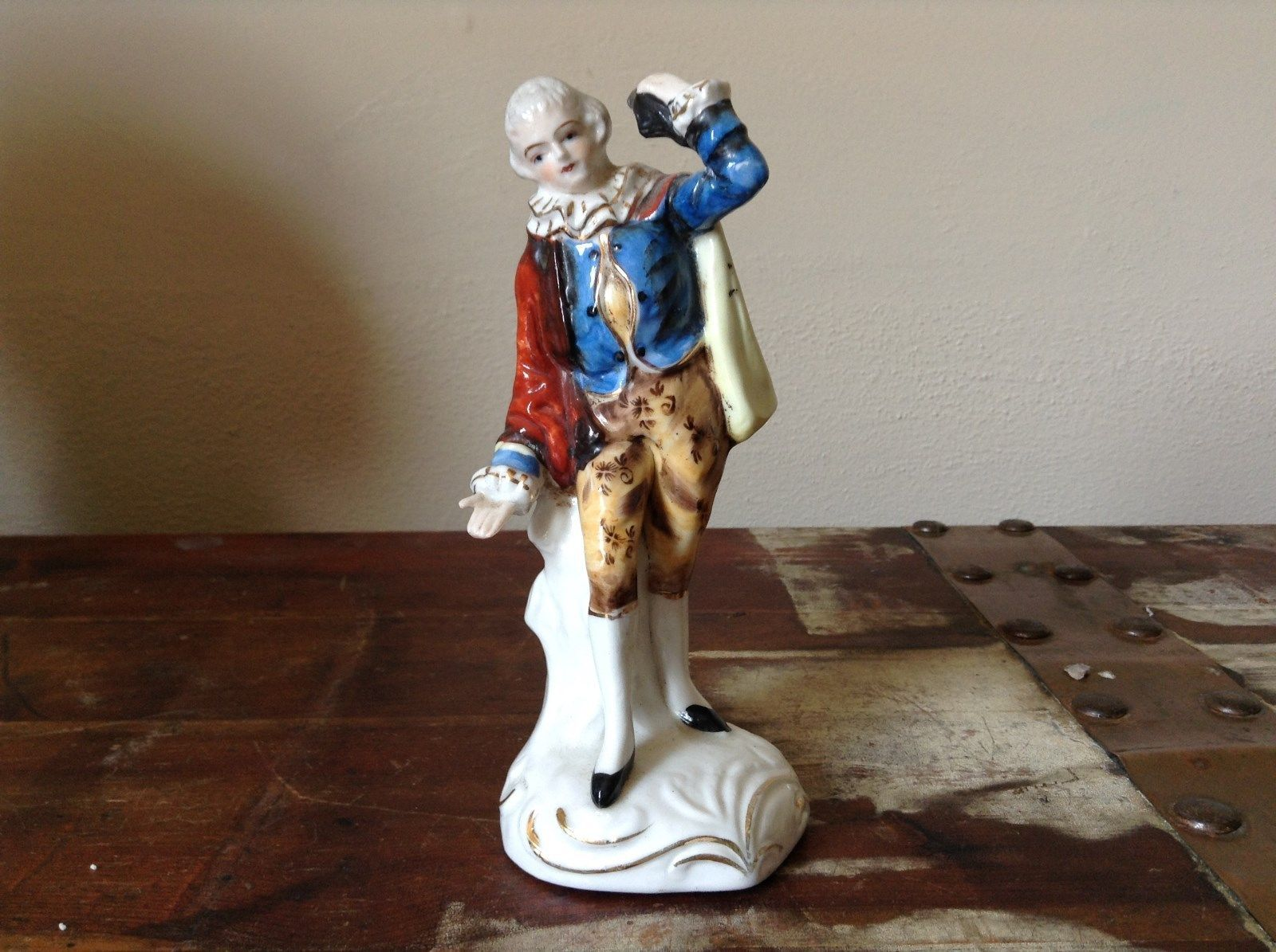 Vintage Ceramic Japanese Figurine Hand Painted Man in Blue Shirt
