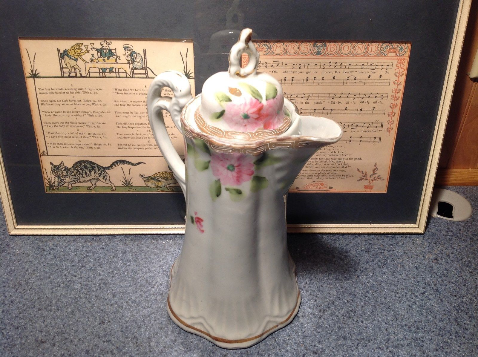 Vintage Ceramic Japanese Teapot Floral Design White Light Pink Light Green